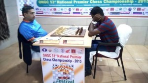 Defending champion GM SP Sethuraman (right) had a formal draw against GM Abhijit Kunte