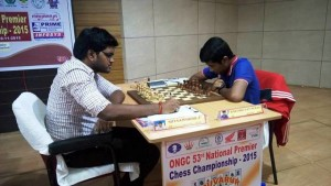GM Karthikeyan Murali (right) overtook Karthikeyan to second spot by beating IM P Shyaam Nikhil