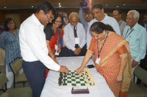 Bachchu Singh, City Magistrate, Noida and Dr. B Shukla-  Vice Chancellor, Amity University inaugarating the chess championship